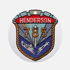 uss henderson patch transparent Round Ornament