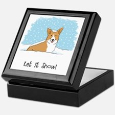 corgiLETITSNOWwords Keepsake Box