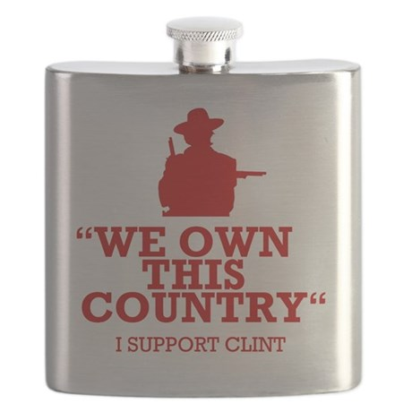 We Own This County - Clint Eastwood Flask