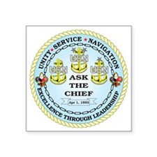 "US Navy Chief Square Sticker 3"" x 3"""