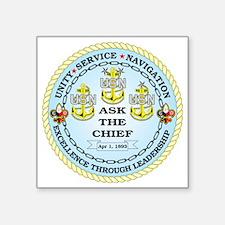 "US Navy Chief Square Sticker 3"" x 3"""