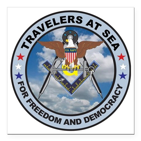 """US Navy Travelers Square Car Magnet 3"""" x 3"""""""