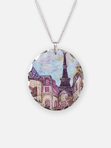 Paris Inspired Pointillism E Necklace