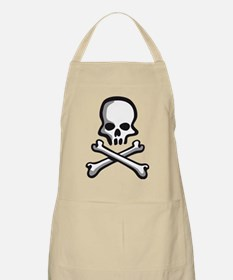 skull comic style pirate kid rock and roll Apron