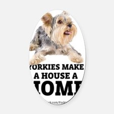 Home with Yorkies Oval Car Magnet