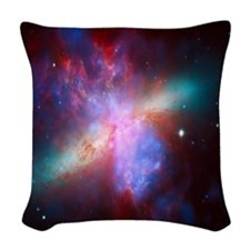 Fiery Galaxy Woven Throw Pillow
