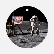 Man On The Moon Round Ornament