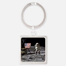 Man On The Moon Square Keychain