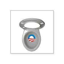 "Obama Empty Chair - Toilet  Square Sticker 3"" x 3"""