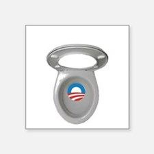 "Obama Empty Chair - Toilet  Square Sticker 3"" x 3"""