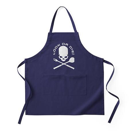 grill skull barbecue bar bq cook Apron (dark)