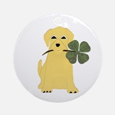 Lucky Yellow Lab Ornament (Round)