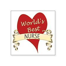 """Worlds Best Nurse Square Sticker 3"""" x 3"""""""