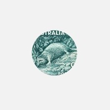 1956 Australia Platypus Stamp Teal Mini Button