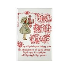 vintage Christmas girl Rectangle Magnet