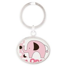 Im ONE Pink Elephant First Birthday Oval Keychain