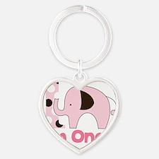 Im ONE Pink Elephant First Birthday Heart Keychain