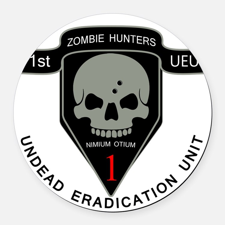 1st Zombie Hunters Round Car Magnet