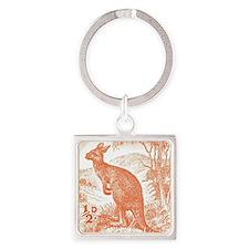 Australia 1949 Kangaroo Stamp Oran Square Keychain