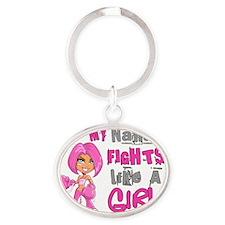 - Nana Fights Like a Girl Breast Can Oval Keychain