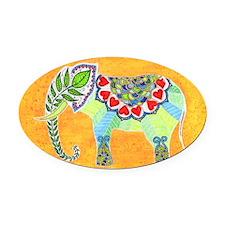 Elephant on Orange Oval Car Magnet