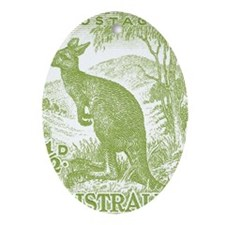 Australia 1949 Kangaroo Stamp Green Oval Ornament