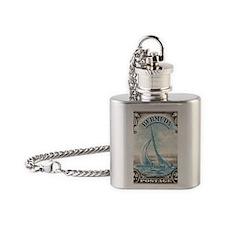 1938 Bermuda Yacht Postage Stamp Flask Necklace