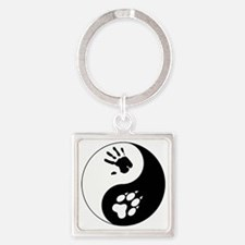 Wolf Therian Ying Yang Square Keychain