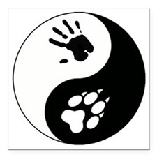 "Wolf Therian Ying Yang Square Car Magnet 3"" x 3"""