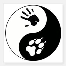 """Wolf Therian Ying Yang Square Car Magnet 3"""" x 3"""""""