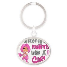 - Sister-In-Law Fights Like a Girl B Oval Keychain