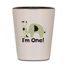 Im One Green Elephant First Birthday Shot Glass