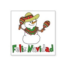 "Feliz Navidad Snowman Square Sticker 3"" x 3"""