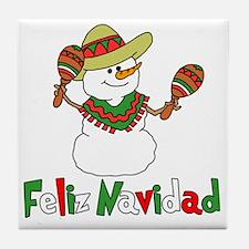 Feliz Navidad Snowman Tile Coaster