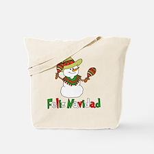 Feliz Navidad Snowman Tote Bag