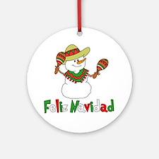 Feliz Navidad Snowman Round Ornament
