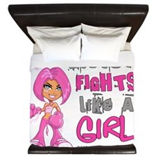 - Sister Fights Like a Girl Breast Canc King Duvet