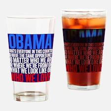 Obama Equality Drinking Glass