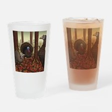 Wild Turkeys Drinking Glass