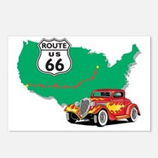 Route 66 With Red Hot Rod Postcards (Package of 8)