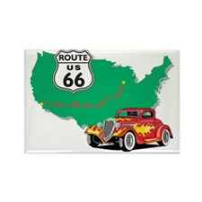 Route 66 With Red Hot Rod Rectangle Magnet
