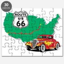 Route 66 With Red Hot Rod Puzzle
