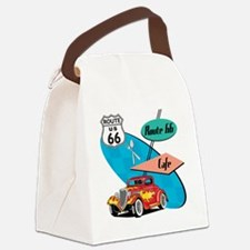 Red Hot Rod Route 66 Diner Canvas Lunch Bag
