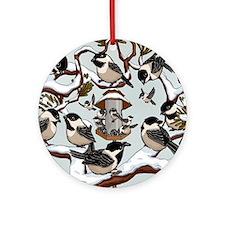 Chickadees Round Ornament