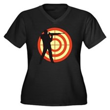 shooting spo Women's Plus Size Dark V-Neck T-Shirt
