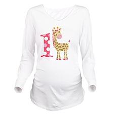 Jungle Giraffe Pink  Long Sleeve Maternity T-Shirt