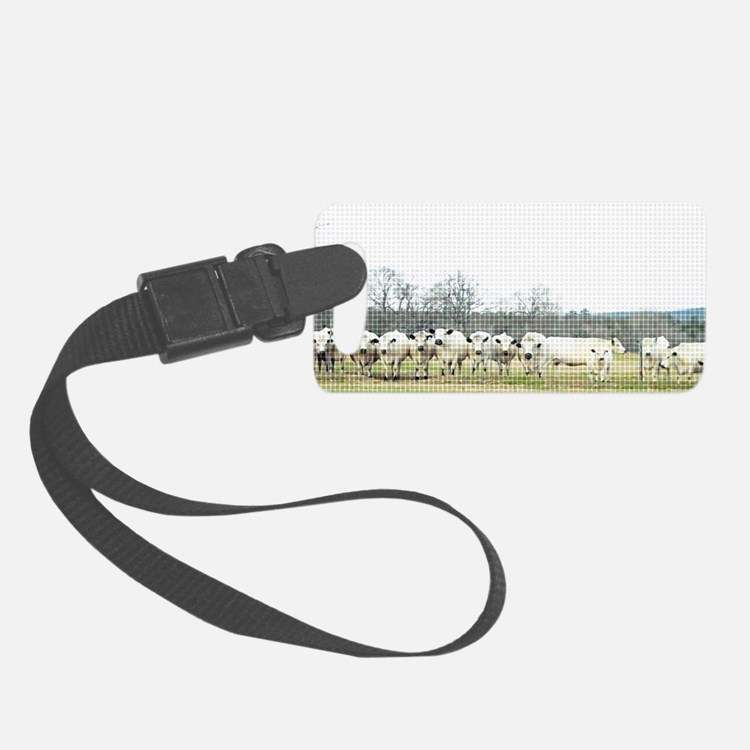 British White Cow Herd on the Fe Luggage Tag