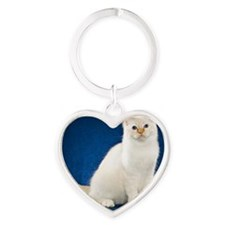 Birman Cat Tile Coaster Heart Keychain