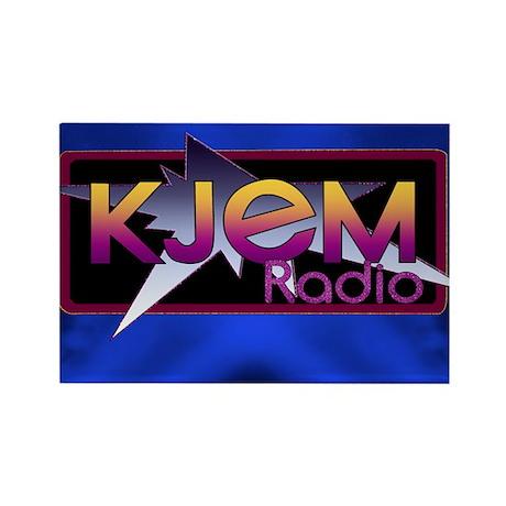 T-shirt KJEM Radio Logo Blue Spot Rectangle Magnet