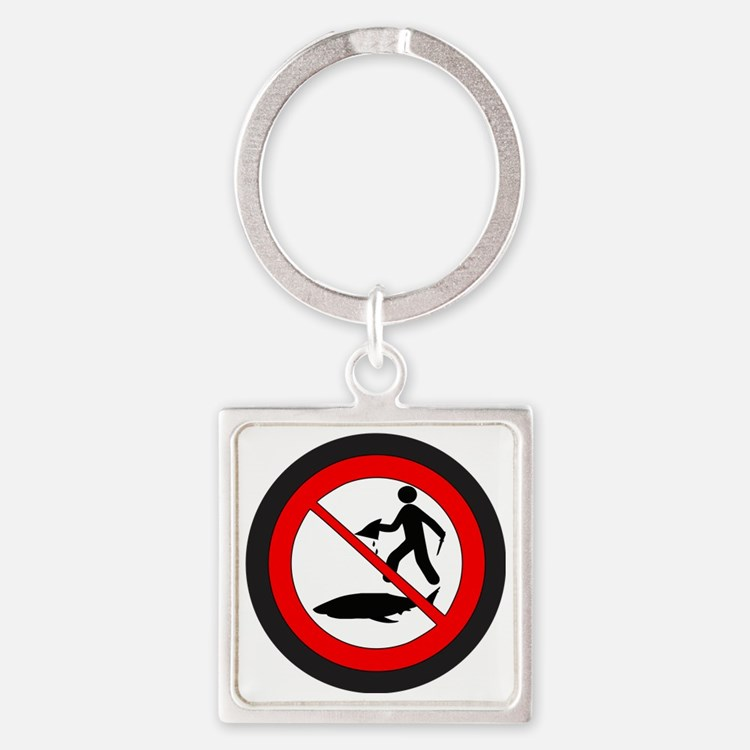 Stop Shark Finning Square Keychain